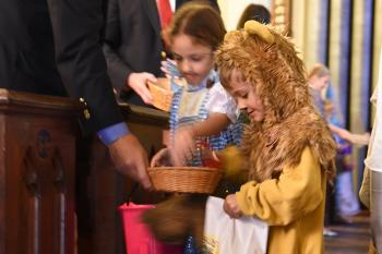 Trick-or-treating in the pews